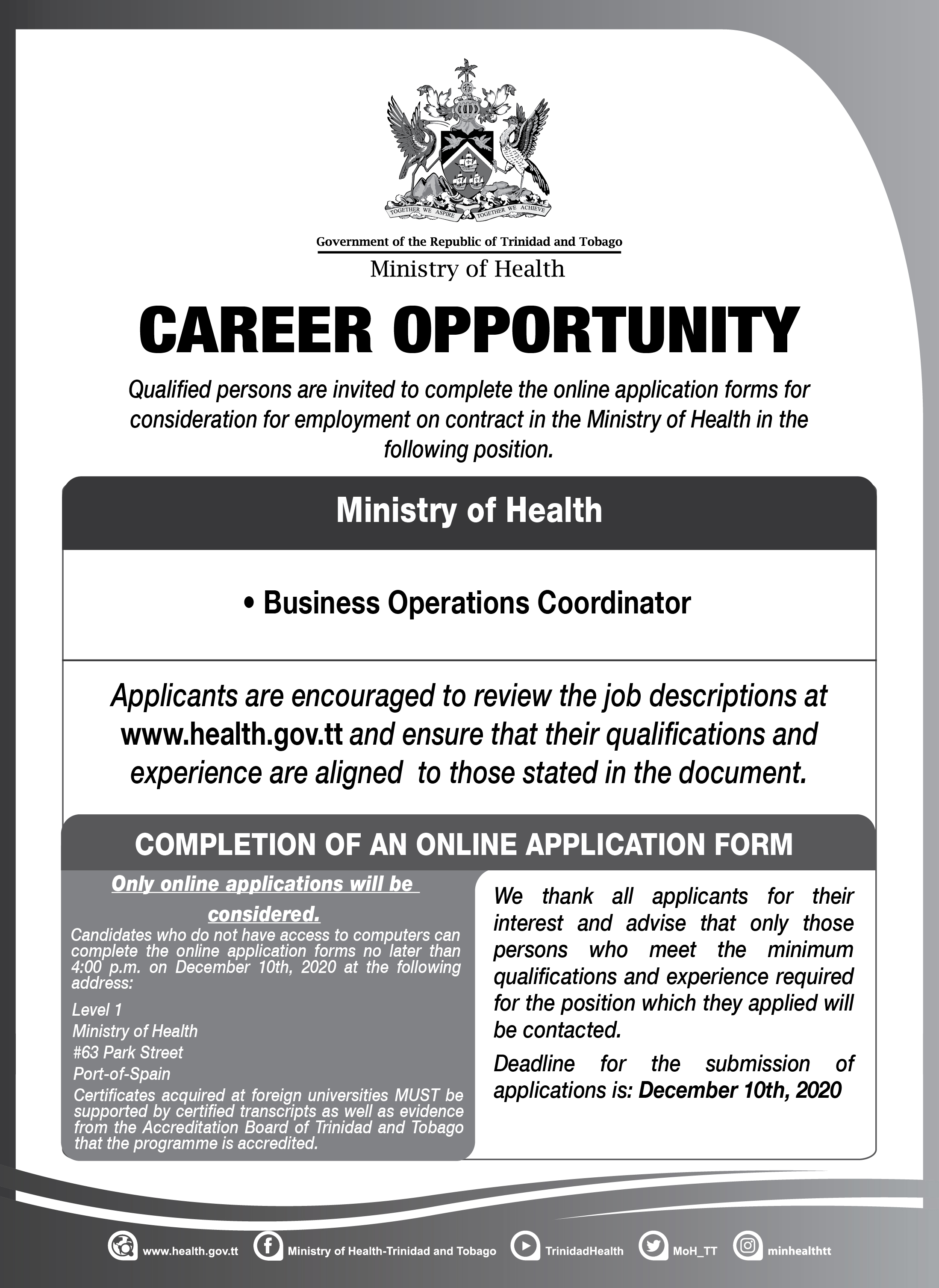 Business Operations Coordinator - Ministry of Health-01